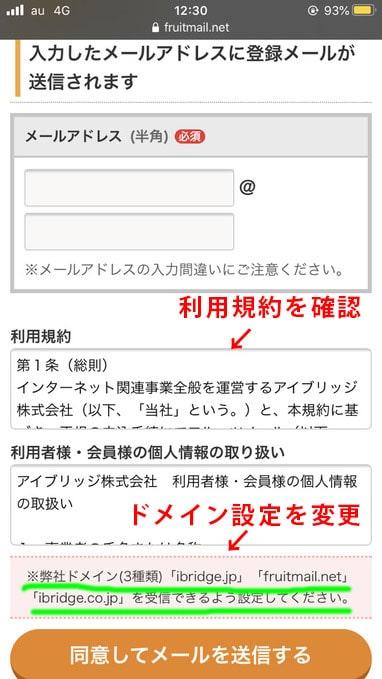 フルーツメール メールアドレス入力画面の画像