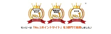 モッピーのナンバー1ポイントサイト受賞の画像